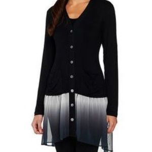 Logo Lori Goldstein Women Button Down Cardigan